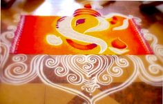 Rangoli Design Made with Marble Powder - Lord Ganesha