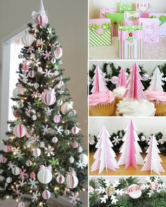 Christmas printables and tutorials: ornaments, tabletop Christmas trees, garland, cupcake toppers and gift bags