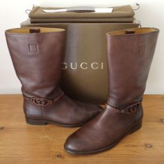 Mens-Gucci-Brown-Leather-Tall-Boots-Shoes-UK-8-5-EU-42-5-US-9-5-Interlocking-GG