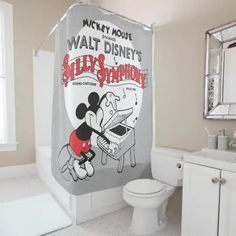 Vintage Mickey Silly Symphony Shower Curtain Mickey Mouse Design, Classic Mickey Mouse, Vintage Mickey Mouse, Minnie Mouse, Cute Shower Curtains, Beauty Products Gifts, Curtains For Sale, Disney Home, Custom Pillows