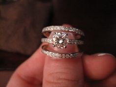 mismatched engagment rings and wedding bands   Women's three ring engagement and wedding band set