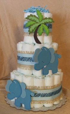 3 Tier Diaper Cake Wild SAFARI Blue BOY Baby Shower Centerpiece NoJo JOJO CoCaLo