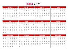 2021 UK PDF Calendar Printable