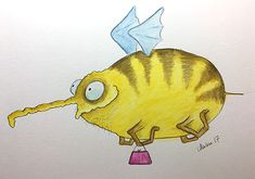 This is Vixiperm Fluph - a friendly little airborne alien (a little late) for #colour_collective #aliceblue #drawing #alien #watercolor