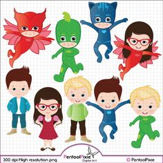 Pj Masks clipart, Catboy, Gekko, Owlette, Connor, Greg, Amaya, Superhero clipart, Super Hero clipart, Superhero boys, Digital clipart on Etsy, $6.00