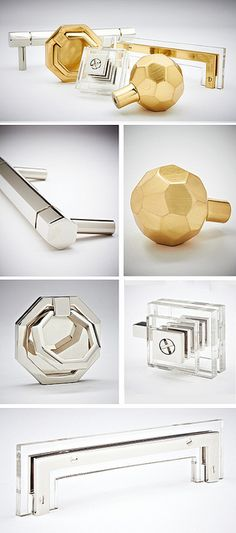lucite & brass or nickel hardware.  Yes please thanks