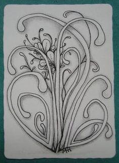 ATC size tile, tangled with Mooka ~ by Melissa Hoopes, CZT ~ #CertifiedZentangleTeacher