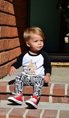 little boy leggings and baseball tee with baby converse