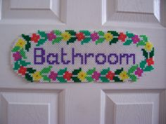 Bathroom Door Plaque hama perler beads by Shazann
