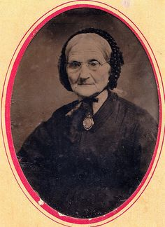 Older Woman in Mourning Wearing Photographic Mourning Brooch, Tintype, Circa 1862 by lisby1, via Flickr