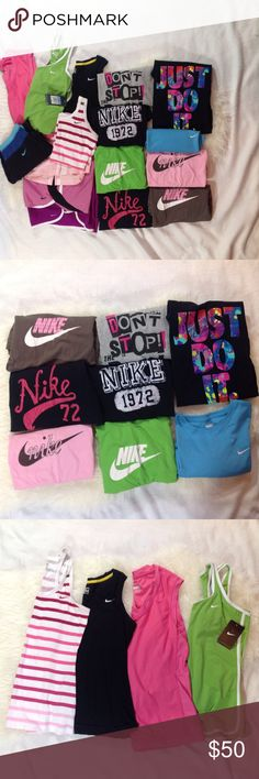HUGE lot women's Nike athletic wear 16 pieces HUGE lot of women's Nike athletic wear 16 pieces include 1 yoga pants, 3 shorts, 4 tank tops, 8 tshirts.  Size S- 3 shorts, pink & blue tshirts.  SZ M- pant, tanks: stripped, black, green (NEW w tag).  SZ L- pink tank & Just Do It Tshirt from an immaculate non- smoking home Nike Other