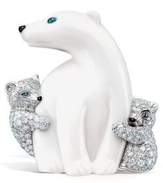 Tiffany White Chalcedony Polar Bear and Diamond Cubs with Sapphire and Black Enamel in 18K White Gold Brooch