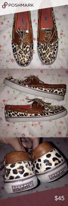 Leopard Sperry Top-Sider Leopard or Cheetah, not sure:) Adorable either way. Size 7 women. Worn but still have plenty of life and in great condition. Logo on the inside is almost rubbed off but otherwise very minimal wear. Sperry Top-Sider Shoes Flats & Loafers