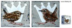 Winterkoning / Wren 1 & 2 - à 4 x 4 cm - Also English version available on my website http://www.fonny.nl/en/