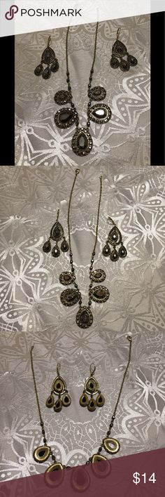"Avon Smoky Mirror bib necklace and earring set Avon goldtone smoky mirror bib necklace with matching chandelier earrings set.  Necklace measures 17"" in length and earrings measure 3"" in length.  Worn a few times.  Good used condition. Avon Jewelry Necklaces"