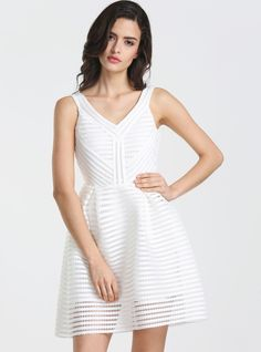 like Maje with fra of price: deal Shop White V Neck Hollow Flare Dress online. SheIn offers White V Neck Hollow Flare Dress & more to fit your fashionable needs. Cheap Dresses, Short Dresses, Best Party Dresses, Sexy Cocktail Dress, Little White Dresses, Going Out Dresses, White V Necks, Dress P, Flare Dress
