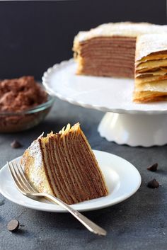 Crepe cake with whipped chocolate ganache - Miss-Recipe.com