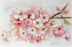 It has been snowing here but I share a very spring-y watercolor today of cherry blossoms. I use Winsor Newtons Artists' watercolors an. Flower Painting, Art Painting, Blossom, Watercolor, Floral Artwork, Arches Watercolor Paper, Painting, Watercolor Sketch, Card Art