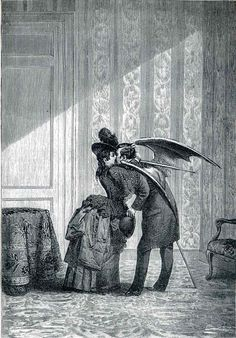 1934 from 'Une semaine de bonté' by Max Ernst (German a German painter, sculptor, graphic artist, and poet. A prolific artist, Ernst was a primary pioneer of the Dada movement and Surrealism. Max Ernst, Art And Illustration, Vampire Illustration, Victorian Illustration, Victorian Vampire, Victorian Era, Vampire Kiss, Vampire Art, Art Noir
