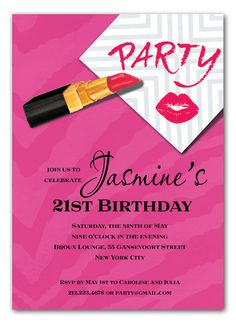 """PARTY INVITATIONS, KISS AND TELL , BONNIE MARCUS, NEW! Stay up all night with this playful party invitation! This stylish design from Bonnie Marcus Collection measures 5"""" x 7"""" and is printed on luxurious heavyweight paper. Perfect for a Birthday, Bachelorette, Girl's Night Out, Cocktail Party and more. White envelolpes included"""