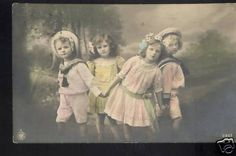 antique children postcards | bdec : 1912 vintage tinted Postcard pc Children Dancing