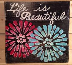 """Life Is Beautiful""HANDMADE Pallet  Rustic Country•Inspirational•flower Garden  | eBay"