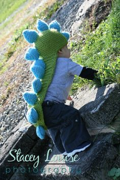 The 2nd most popular thing in my shop...something about spikes these days!!   Crocheted Dinosaur Hat with Tail of Spikes by RavensCraftCreations