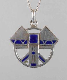 Art Deco Silber Email Anhänger mit Kette - Silber mit blauem Grubenemail