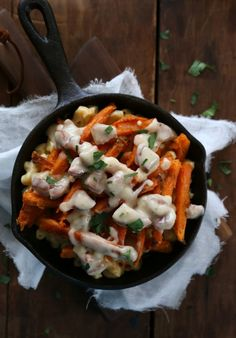 poutine mac and cheese with andouille gravy (not a big sweet potato fan, but this looks so yummy!)