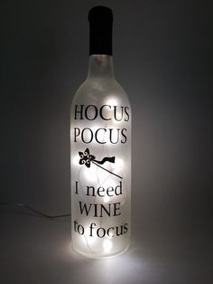 "USB OR ELECTRIC ""Hocus Pocus, I need Wine to Focus"". ""Hocus Pocus, I need Wine to Focus"". Wine Bottle Art, Painted Wine Bottles, Lighted Wine Bottles, Bottle Lights, Liquor Bottles, Wine Bottle Crafts, Bottles And Jars, Decorative Wine Bottles, Bottle Bottle"