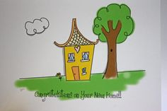 Cartoon House Drawing Congratulations on Your New Home Card,  by ladybugonaleaf, $3.00