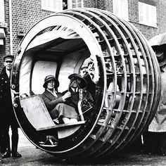 The Dynasphere was a monowheel vehicle that John Archibald Purves from the UK patented in 1930.  His idea for the vehicle was inspired by a sketch made by Leonardo da Vinci.  #Revs #Dynasphere #MonoWheel #UK #Concept #Car #Automotive #LeonardodaVinci #conceptcar #davinci