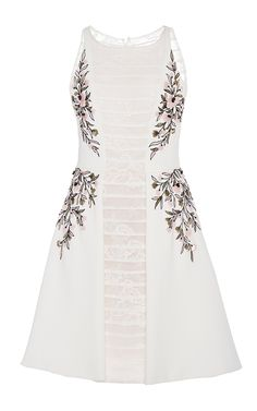 GEORGES HOBEIKA Sleeveless Embroidered Cocktail Dress