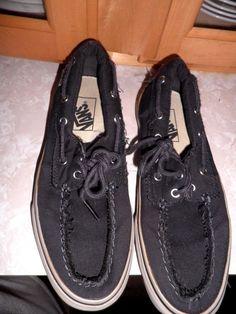 80282bb4881914 Vans Black Distressed Boat Shoes EUC Size Mens 6 5 Womens 8