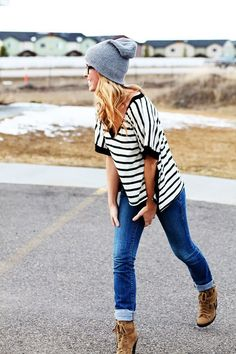 cuffed jeans, slouchy striped shirt, knit cap, booties