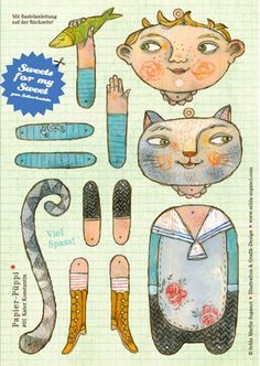 printables- puppet - paper doll- paper toy - artcraft - articulated -  cat boy - kitty cat -