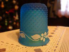 Vintage Blue Westmoreland Glass Thimble Hand Painted | eBay