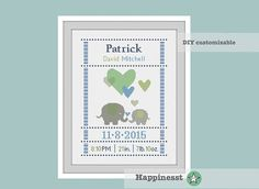 cross stitch baby birth sampler, birth announcement, elephants, baby boy, green & blue, DIY customizable pattern** instant download**