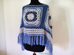 Crochet Boho Gypsy Granny Square Poncho, Crochet Poncho For Woman Bohemian Clothing, Boho Hippie Clothes, Bohemian Style Boho Summer Top Crochet Boho Gypsy Granny Square Poncho Crochet Poncho For Crochet Top Outfit, Knit Baby Dress, Crochet Poncho, Crochet Clothes, Crochet Granny, Irish Crochet, Free Crochet, Boho Gypsy, Bohemian Mode