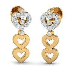Tell her how much she means to you with these strings of heart studs. 3 gorgeous hearts are decked one after the other making these earrings a perfect party-wear accessory. Valentines Day Gifts For Her, Valentines Day Hearts, Diamond Chandelier Earrings, Heart Earrings, Party Wear, Studs, White Gold, Gemstones, Perfect Party