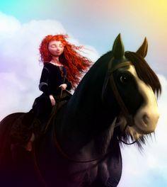Merida and her Shire horse, Angus