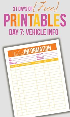 Vehicle Information Printable