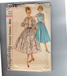 1950s Vintage Sewing Pattern Simplicity 2031 Misses Full Skirt Button Front Shirtwaist Dress Size 14 Bust 34 1957 50s