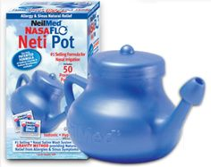 Neti Pot Saline Solution - this works wonders for your sinuses!!!  It will stop a sinus infection dead in its tracks!  Very important: Make sure water is boiled and cooled before using it in the Neti pot.   To disinfect your Neti Pot, run boiling water through it before using.