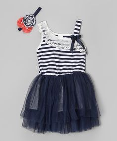 Look what I found on #zulily! Navy Stripe Lace Tank Dress & Headband - Infant, Toddler & Girls by Miss Fancy Pants #zulilyfinds