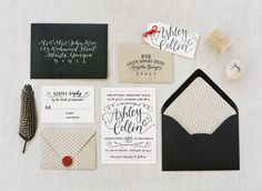 black and linen wedding invitation suite