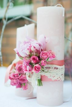 Wedding Unity Candles, Pillar Candles, Wedding Centerpieces, Wedding Bouquets, Wedding Decorations, Table Centerpieces, Fire Candle, Candle Set, Shabby Chic Candle