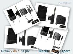 Držiaky do auta pre BlackBerry Passport. Pasívny držiak Brodit pre pevnú montáž v aute, aktívny s USB konektorom a CL nabíjačkou alebo s Molex konektorom.