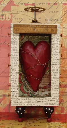 """Assemblage Art Mixed Media Found Object Shrine """"Contained Love"""""""