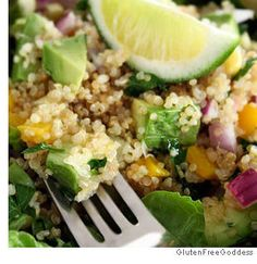 Avocado & Quinoa Salad.  High protein in quinoa, good fat in avocado ... watch calories.